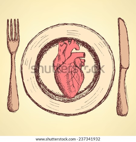 Sketch human heart on the plate in vintage style, unexpected vector - stock vector