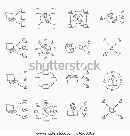Sketch Icon Set Isolated on White Background. Vector EPS8. - stock vector