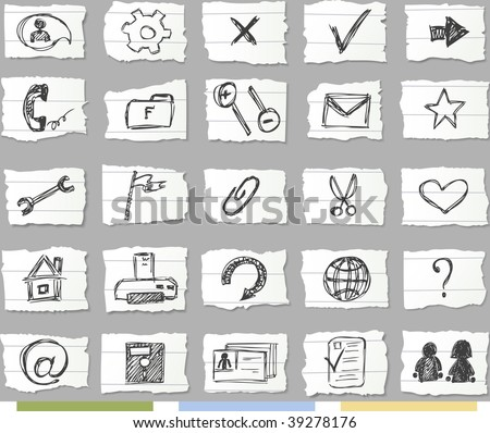 Sketch icons on ripped paper.Available 4 colors of background and shadows on it.Set 2 - stock vector