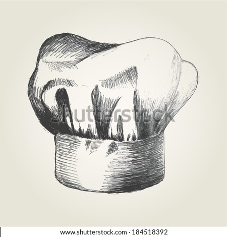Sketch illustration of a chef hat - stock vector