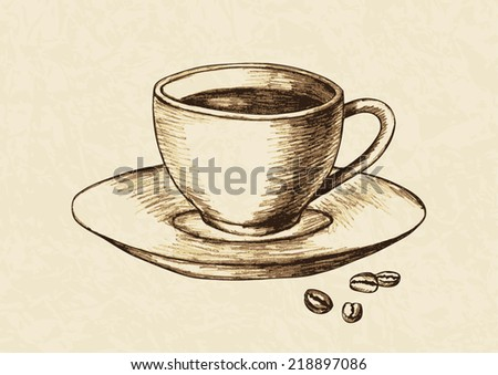 Sketch illustration of a cup of coffee and coffee beans - stock vector