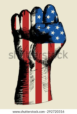 Sketch illustration of a fist with American insignia - stock vector
