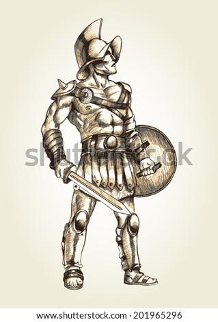 Sketch illustration of a gladiator - stock vector