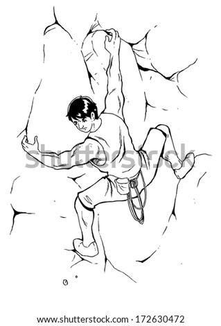 Sketch illustration of a man climbing the rock - stock vector