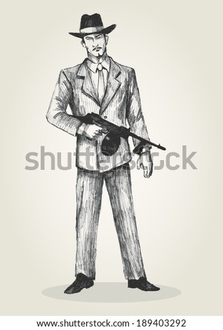 Sketch illustration of a man holding a gun - stock vector