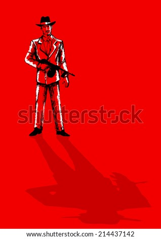 Sketch illustration of a man holding a tom gun - stock vector