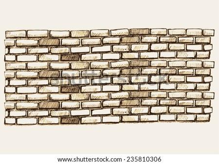 Sketch illustration of brick wall - stock vector