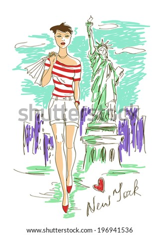 Sketch illustration of fashion girl and Statue of Liberty in New York - stock vector
