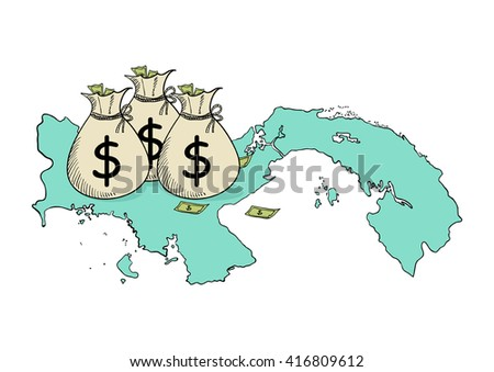 Sketch illustration of money bags on Panama map - stock vector