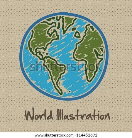 sketch illustration of planet earth, isolated on dots background, vector illustration - stock vector