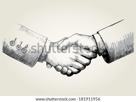 Sketch illustration of shaking hands  - stock vector