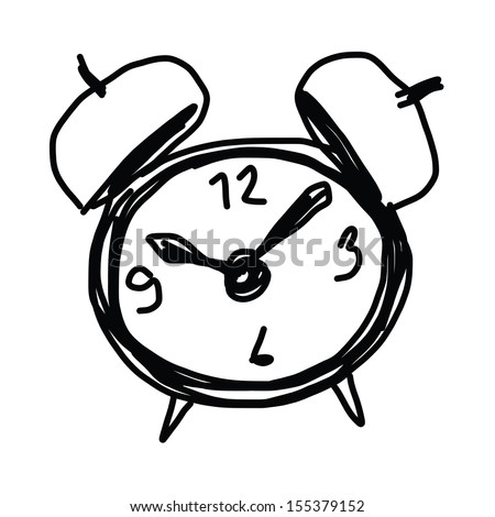 sketch illustration of the alarm clock - stock vector