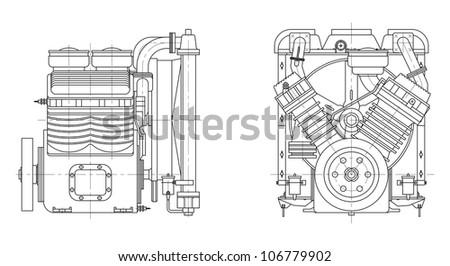 Sketch internal combustion engine. Vector EPS10 - stock vector