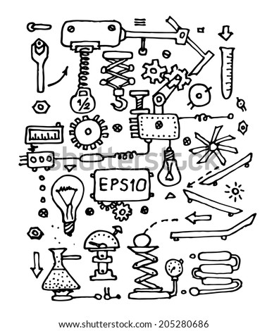 Sketch involved mechanism on white background. Vector illustration.
