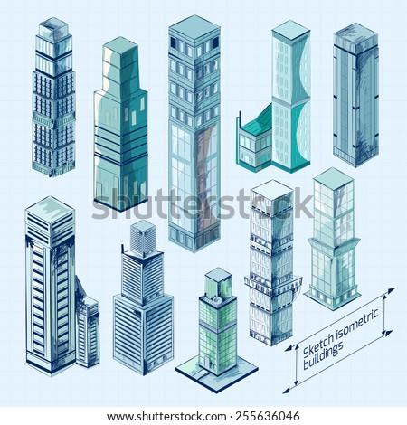 Sketch isometric 3d business buildings colored skyscraper decorative icons set isolated vector illustration - stock vector