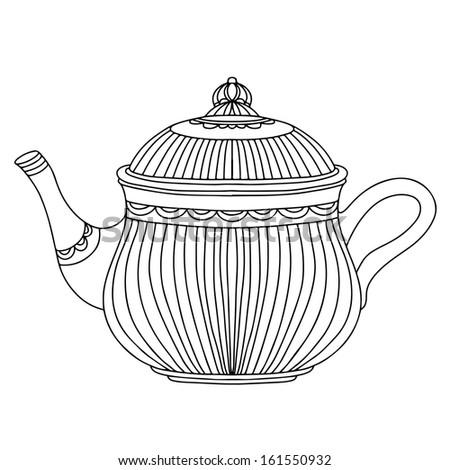 Sketch kettle isolated. Abstract design logo. Logotype art- vector - stock vector