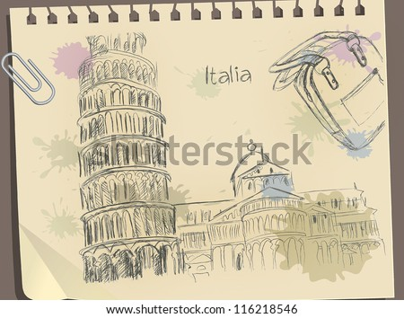 Sketch leaning Pisa tower, Italy on Vintage Old papers.