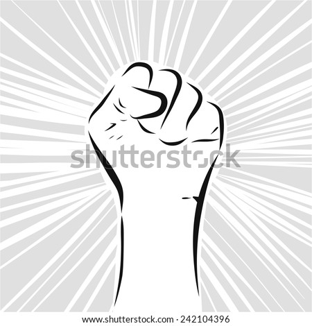 Sketch line drawing of fist abstract background - stock vector