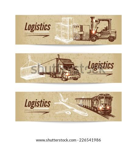 Sketch logistics and delivery banner set. Cardboard backgrounds. Hand drawn vector illustration - stock vector