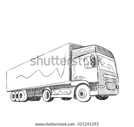 Sketch logistics and delivery poster. Hand drawn vector illustration - stock vector