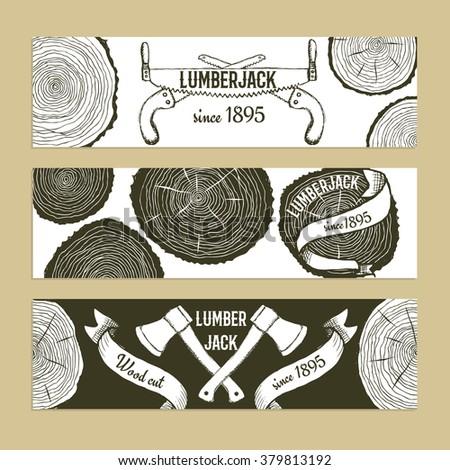 Sketch lumberjack's set of banners in vintage style, vector - stock vector