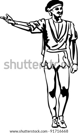 sketch male ballet dancer standing in pose