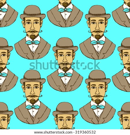 Sketch man in hat, vintage style, vector seamless pattern - stock vector