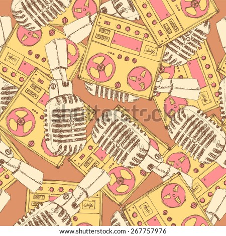 Sketch microphone and recorder in vintage style, vector seamless pattern - stock vector