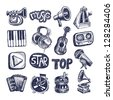 sketch music icon element collection - stock