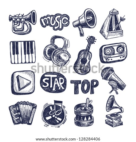 sketch music icon element collection - stock vector