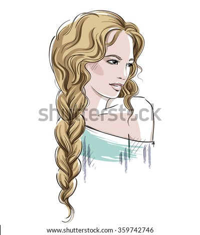 Sketch of a beautiful girl with braid. Fashion illustration, vector  - stock vector