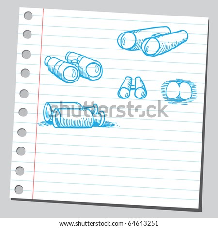 Sketch of a binoculars - stock vector