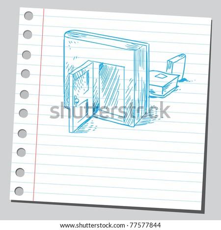 Sketch of a book with open door - stock vector
