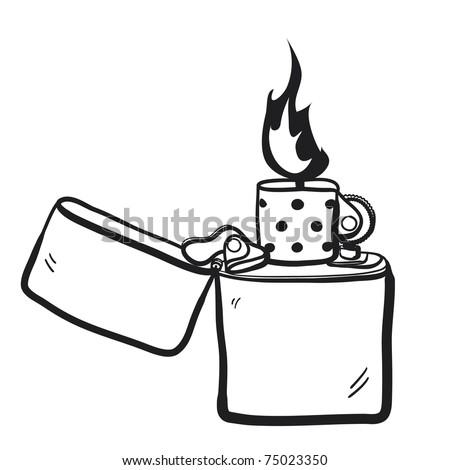 Sketch of a burning lighter - stock vector
