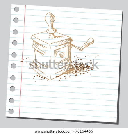 """Sketch of a """"coffee mill"""" - stock vector"""