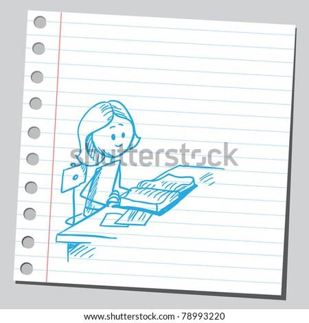 Sketch of a girl reading book - stock vector