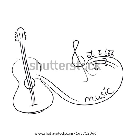 sketch of a guitar with notes. vector illustration - stock vector