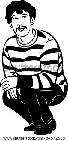 sketch of a guy with a mustache sat on his haunches - stock vector