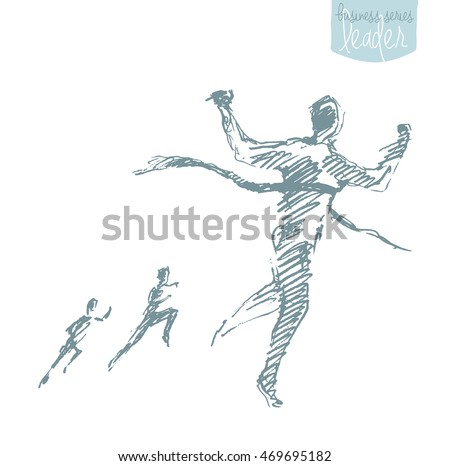 Sketch of a man, crossing winner's ribbon. Successful finish concept, challenge, win, vector illustration