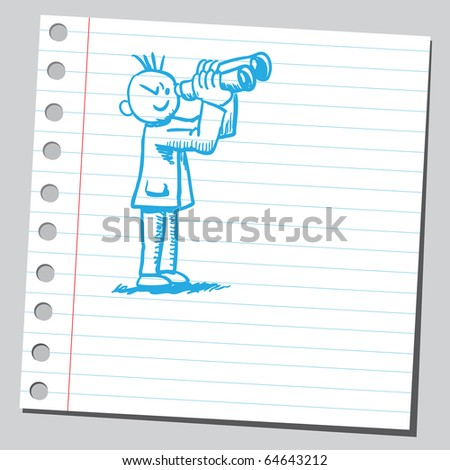 Sketch of a man with binoculars - stock vector