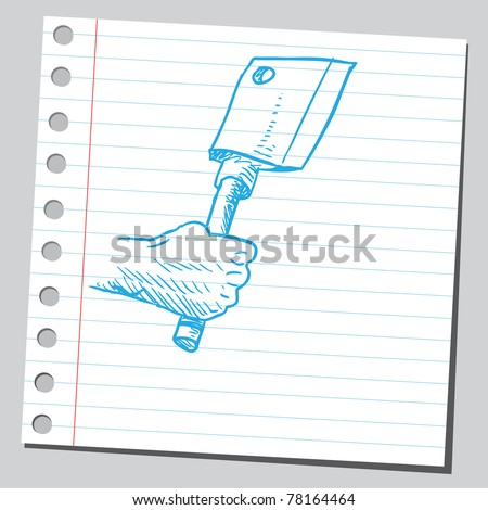 """Sketch of a """"meat cleaver"""" - stock vector"""