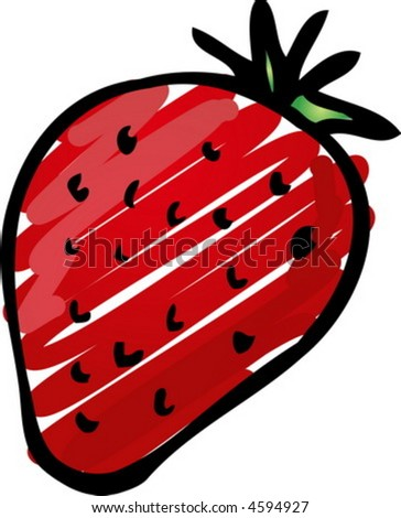 Sketch of a strawberry. Hand-drawn lineart look illustration rough sketchy coloring - stock vector
