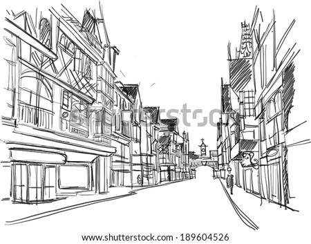 sketch of a street in the old town - stock vector