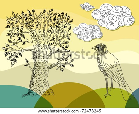 Sketch of a summer tree and a bird - stock vector
