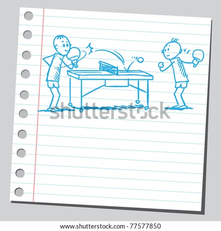 "Sketch of a ""table tennis"" game - stock vector"