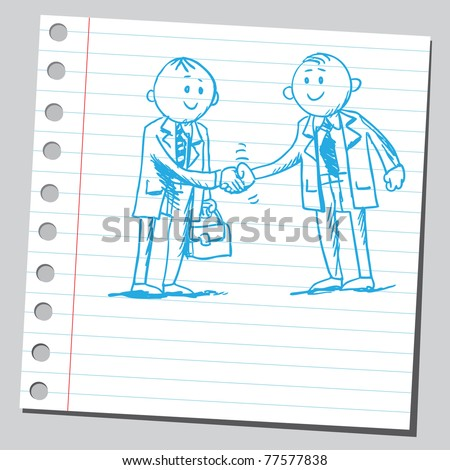 Sketch of a two businessmen shaking hands - stock vector