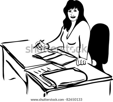 sketch of a woman at the table with business papers - stock vector