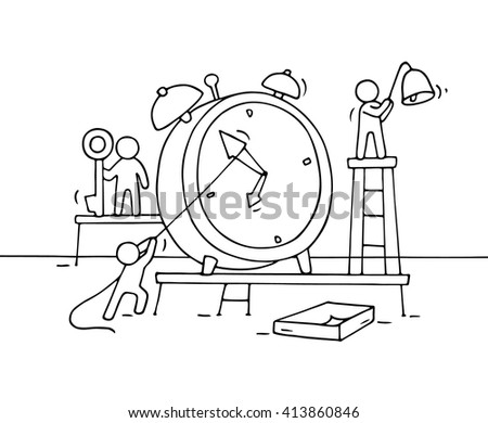 Sketch of alarm clock with working little people. Doodle cute miniature teamwork about deadline. Hand drawn cartoon vector illustration for business design and infographic. - stock vector