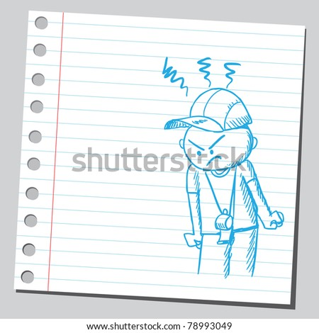 Sketch of an angry coach - stock vector