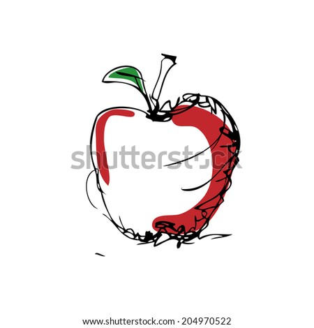 Sketch of an apple vector  - stock vector